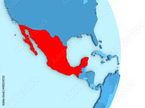 Mexico on blue political globe