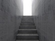 Stairway goes up to the glowing white door