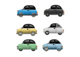 Collection of classic minicars. Vector Illustration