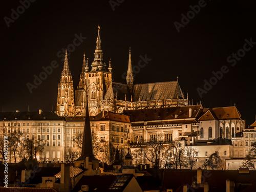 Poster Prague Castle at nighttime