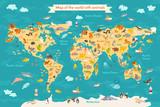 Mapa świata ze zwierzętami dla dzieci.