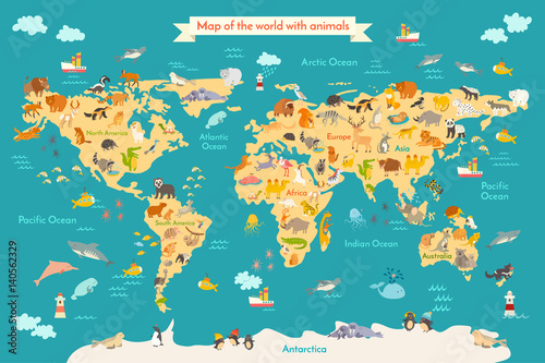 Fototapeta Animal map for kid. World vector poster for children, cute illustrated. Preschool cartoon globe with animals. Oceans and continent: South America,Eurasia,North America,Africa, Australia.Baby world map