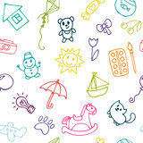 Doodle children drawing background. Seamless pattern for cute little girls and boys. Sketch set of drawings in child style
