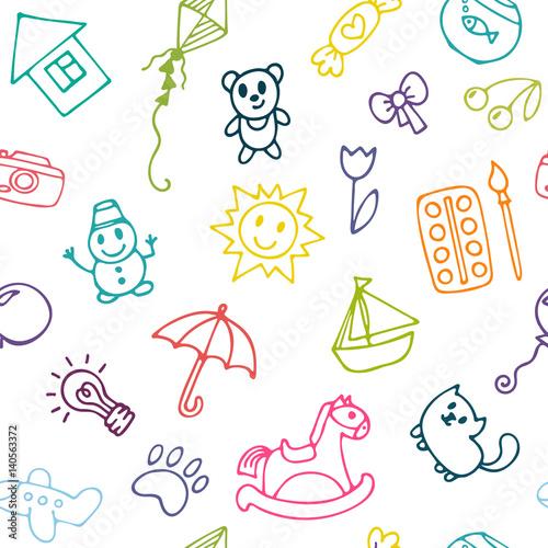 doodle-dzieci-rysunek-tlo-bezszwowy-wzor-dla-slicznych-malych-dziewczynek-i-chlopiec-szkic-zestaw-rysunkow-w-stylu-dziecka