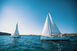 Sailing ship yachts with white sails in the sea.