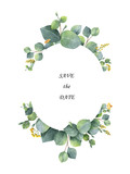 Watercolor wreath with silver dollar eucalyptus leaves and branches. - 140586571