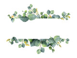 Watercolor green floral banner with silver dollar eucalyptus leaves and branches isolated on white background. - 140586598