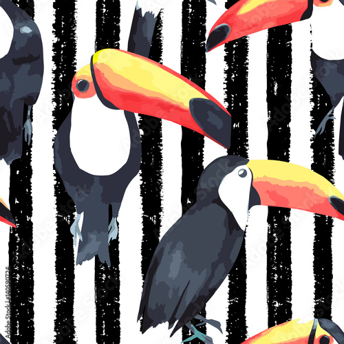 Cotton fabric Seamless pattern with tropical birds - toucan on striped background. Vector watercolor illustration