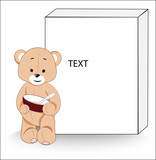 teddy bear with a plate of porridge and box