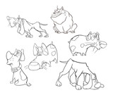 Set of Cute Dogs for you Design. Cartoon Character