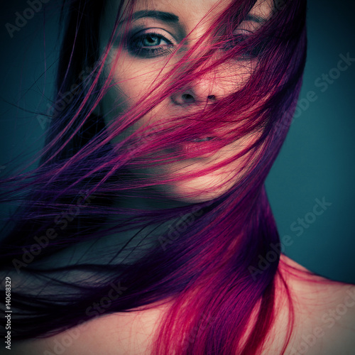 dramatic portrait attractive girl with red hair