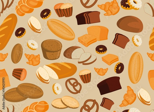 Seamless pattern background with bakery products