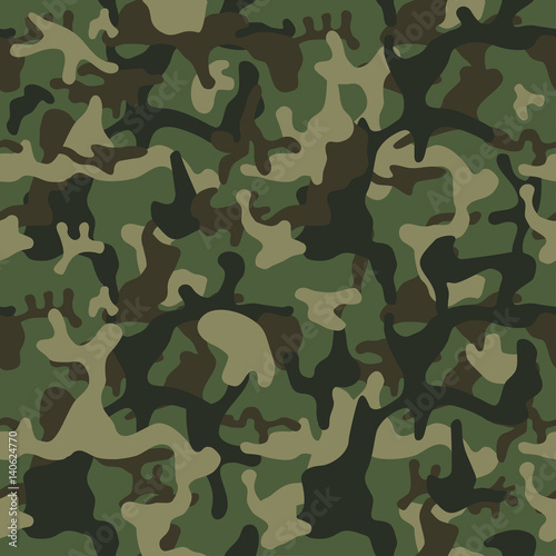 Camouflage pattern background seamless. Classic clothing style masking camo repeat print. Green brown black olive colors forest texture.  © Юрий Парменов