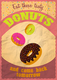 Vintage delicious donuts poster. Vector illustration.
