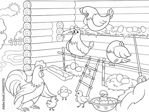 Interior and life of birds in the chicken coop coloring for children cartoon vector illustration
