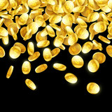Gold falling 3d coins on black background, rain of coins horizontally seamless illustration