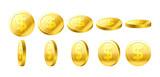 Gold 3D coins set