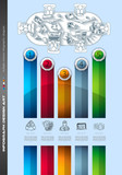 Infograph Brochure template with a lot of choices and a lot of infographic design elements and mockups. Teamwork ideas, branstorming sessions and generic business plan presentationsl.