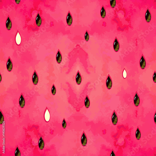 Fruity seamless pattern with watercolor paint textured watermelon pieces. Vector texture. - 140639326