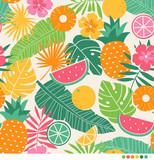 Hibiscus flowers, fruits and palm leaves seamless vector pattern. - 140642907