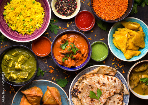 Foto Murales Assorted indian food