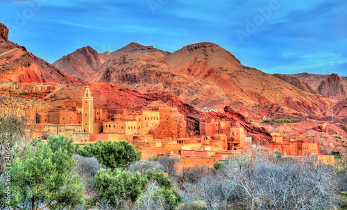 Poster Oranje eclat Traditional Kasbah fortress in Dades Valley in the High Atlas Mountains, Morocco