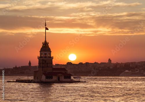 Poster View of the Maiden tower at sunset, Istanbul, Turkey