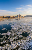 Beautiful winter view of the Danube river and Hungarian Parliament in a Sunny day, Budapest, Hungary