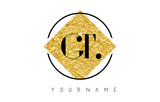 GT Letter Logo with Golden Foil Texture.