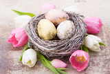 Easter eggs in the nest. Spring flowers tulips. - Fine Art prints