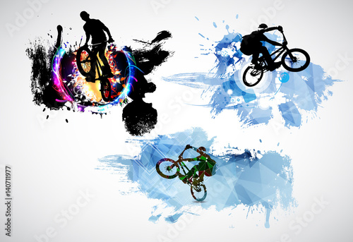 Silhouette of bicycle jumper - 140711977