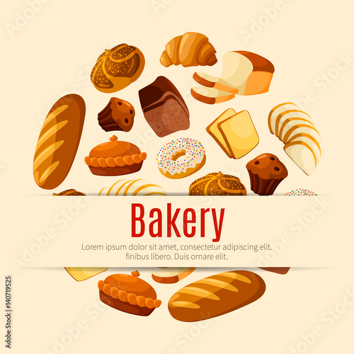 Bakery and pastry shop poster with bread and cake