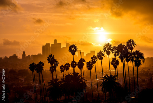 Plakat Los Angeles i Palm Trees Sunset