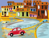 vector illustration wit an old city, river, houses and cars