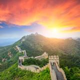 majestic Great Wall of China at sunset