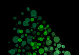 Black background business illustration of green bubbles and bokeh.