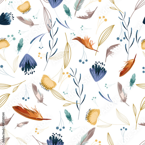 Floral seamless pattern. Hand drawn flowers and feathers on white background. Beautiful spring wrapping paper. Vector illustration.