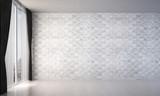 New scene 3d rendering interior design of empty white random marble wall