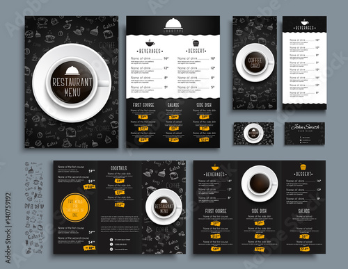 Set of A4 menu, folding brochures and flyers size 210x99 mm for restaurant