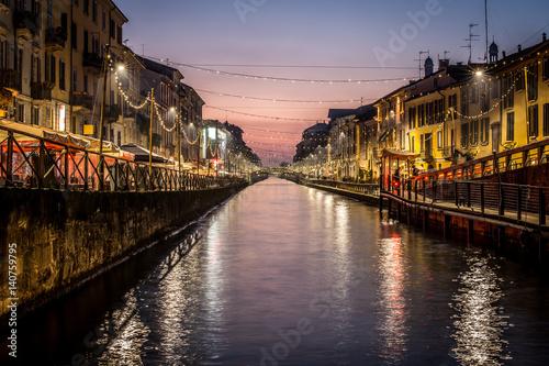 In de dag Milan Milan city spirit Italy - sunset at Navigli