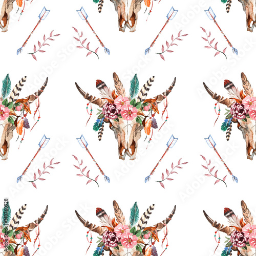 Watercolor boho skull Boho watercolor seamless pattern with feathers, flowers - 140760928