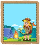 Parchment with scout girl theme 2