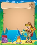 Parchment with scout girl theme 3