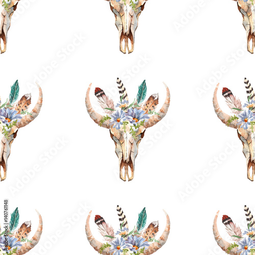 Watercolor boho skull Boho watercolor seamless pattern with feathers, flowers - 140761148