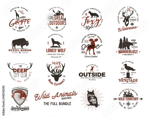 Aluminium Hipster Hert Wild animal badges set. Included giraffe, owl, fox and deer and other shapes. Full set. Stock vector isolated on white background