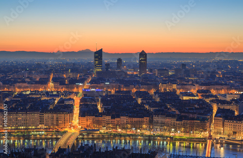 Dawn over the French city of Lyon. Seen from landmark Fourviere. Poster