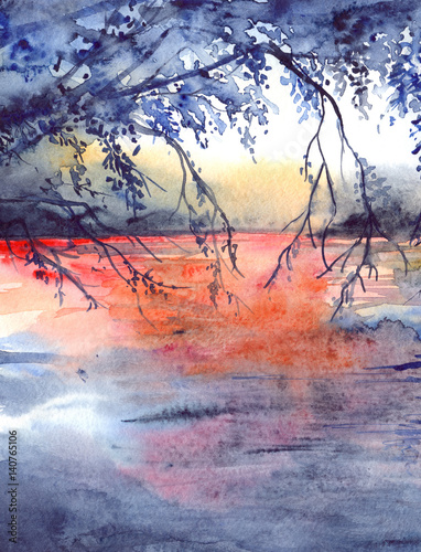 Watercolor evening sunset tree branches river lake landscape - 140765106