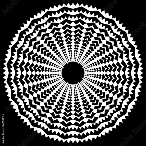 Radiating / radial abstract circular geometric element. Abstract black and white shape - 140767136