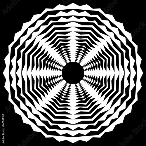 Radiating / radial abstract circular geometric element. Abstract black and white shape - 140767188