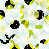 seamless background, retro/vintage style, with circles, squares, strokes and splashes